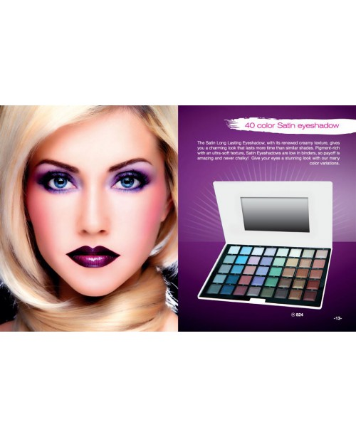 40 COLOR SATIN EYESHADOW PALLET REF. 824
