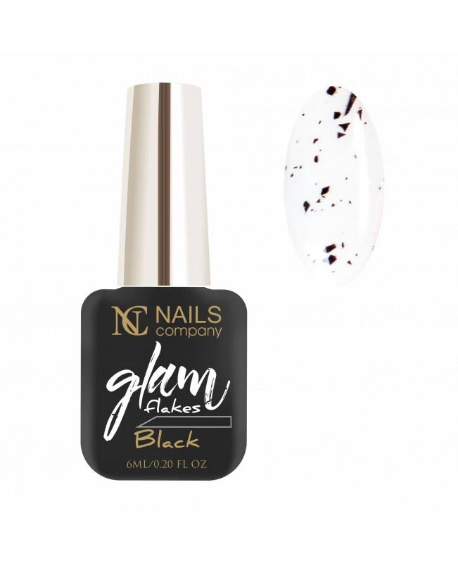 Nc Nails Ημιμόνιμα Χρώματα Glam Flakes Black 6ml