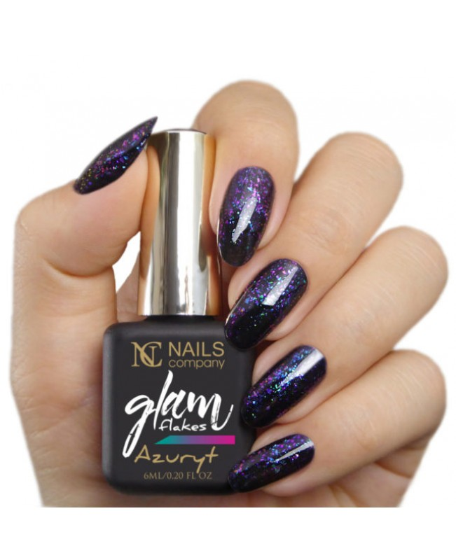 Nc Nails Ημιμόνιμα Χρώματα Glam Flakes Azuryt 6ml
