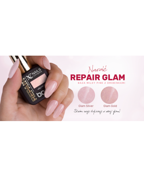 Nc Nails Repair Base Milky Pink Glam Gold 11ml